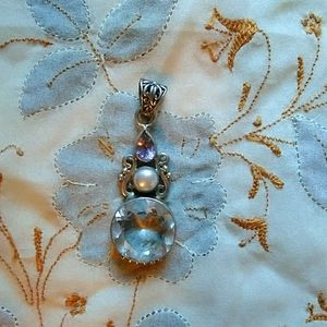 Elegant Amethyst, Pearl & Quartz sterling pendant